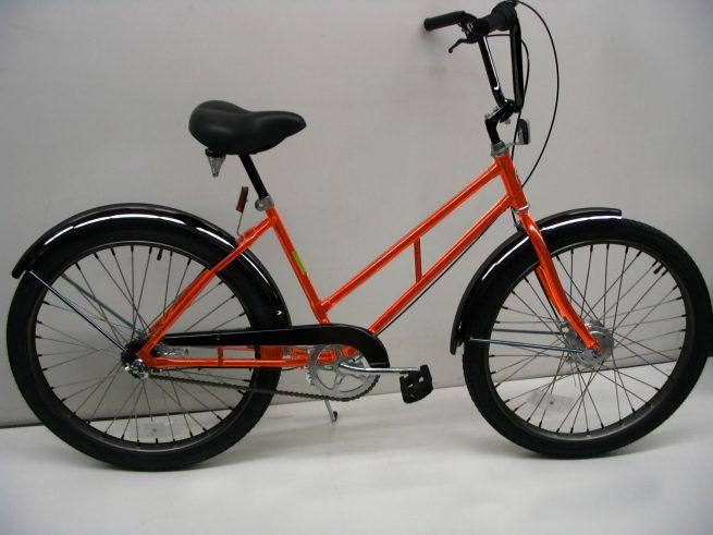 Supersized Newsgirl with High Rise Handlebars 2 orange bike