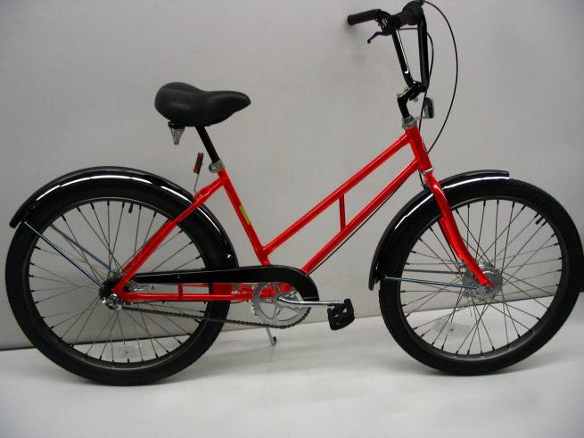 Supersized Newsgirl with High Rise Handlebars red bike