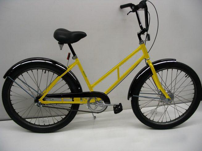 Supersized Newsgirl with High Rise Handlebars yellow bike